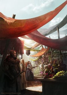 A Dyr market, with lots of stalls with tons of food, and vendors hawking their goods at every turn.