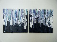 Canvas Skyline by SpiltInk on Etsy, $25.00 so pretty!