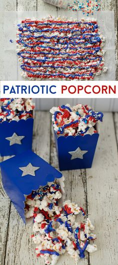 Patriotic Popcorn - Patriotic Popcorn, memorial day or of july party ideas . - Patriotic Popcorn – Patriotic Popcorn, memorial day or of july party ideas Patriotic Popcorn - Patriotic Desserts, 4th Of July Desserts, Fourth Of July Food, 4th Of July Celebration, Patriotic Crafts, Patriotic Party, July Crafts, 4th Of July Party, 4th Of July Ideas
