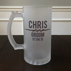 The perfect Groomsmen gift, retirement gift, housewarming gift, and more! 16oz glass frosted beer stein, permanently ink printed