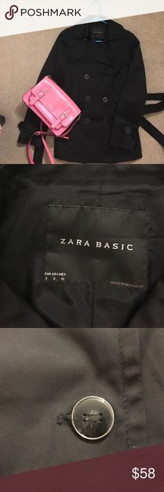 Zara basic short trend coat Essential piece for spring and fall! Black Zara basic trench coat is very stylish, dark brown buttons with some details. Gently wore and it's in excellent condition! Zara Jackets & Coats Trench Coats