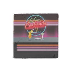 cocktails Retro neon bar sign Stone Magnet
