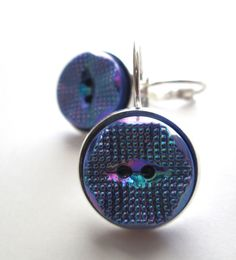 Vintage button earrings, BLUE glass 2-hole buttons