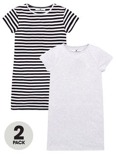 Girls 2 Pack T-Shirt Dresses - Multi Casual T Shirt Dress, Casual T Shirts, Gray Dress, Striped Dress, Day Dresses, Girls Dresses, Girls Wardrobe, Baby Wearing, 6 Years