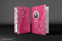 Pink Memory Funeral Program Template by Madhabi Studio on Creative Market