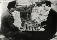 "Marcel Duchamp and Man Ray playing chess on the roof of the Théâtre des Champs Elysées (Paris) in ""Entr'acte"", 1924, a film by René Clair and Francis Picabia."
