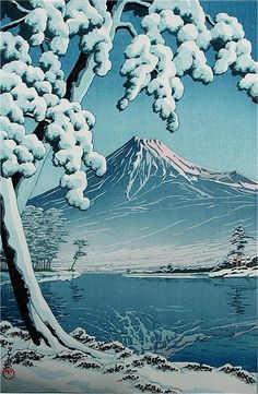 Note the similarity of this to the famous Mount Fuji Seen Below a Wave at Kanagawa by Hokusai || Hasui KAWASE, Japan
