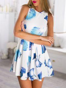 White Sleeveless Cut Out Floral Print Dress -SheIn(Sheinside)