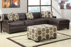 Hayward Coffee Leather Sectional Sofa at GoWFB.ca | Urban Cali | Free Shipping