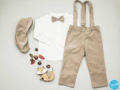 Baby Taufanzug Baby-Junge beige lange Hose Hosenträger