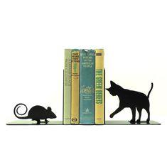 Cat and Mouse Metal Art Bookends  Free USA door KnobCreekMetalArts