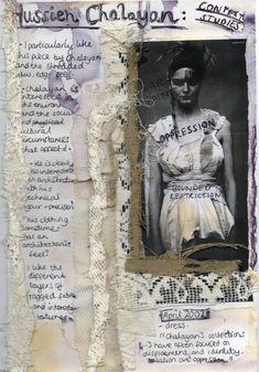 Fashion Sketchbook - fashion design contextual research page exploring decay & world war one // Helen Stead, textiles & fashion portfolio