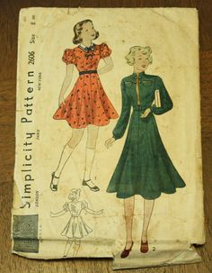Simplicity 2606 1930s 30s Military style by EleanorMeriwether, $20.00