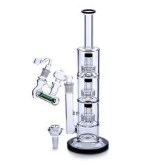 Glass Bong Oil Rigs Triple Birdcage Recycler Bubbler Percolator Height With Ash Catcher+Bowl,Two Functions