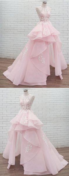 pink lace long prom dress, sweet 16 dress