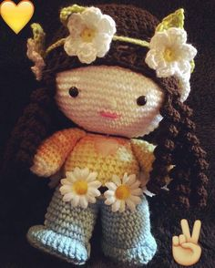 CROCHET - BIG HEAD DOLL - BABYDOLL YO-YO - My 2nd big head doll - Hippy Girl