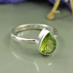 Pear Cut Natural Peridot Gemstone Artisan Handmade August Birthstone Ring Size 7 - Green Gemstone Solitaire Gift Ring - Beautiful Ring Photo