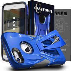 CASE FORCE iPhone 8 Case,iPhone 7 Case [Velocity Series] Best Ultimate for Girls Women Men, Kickstand Heavy Duty Military Grade Drop Protection Custom Design Cover (Blue)