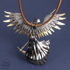 Big and imposing pendant - Angel of Death. Handcrafted with sterling silver. Hang on a leather strap. The length of the strap: approx. 50