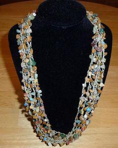 Earthy Gemstone Chips Bead Crochet Necklace by nardiesarttowear, $35.00
