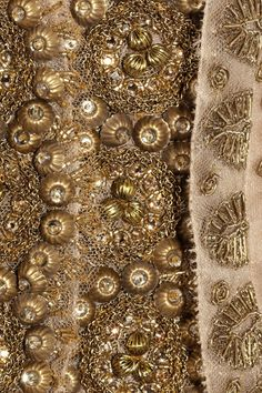 Detail from a Vera Wang Gold Embroidered Silk-Mesh and Organza Jacket.