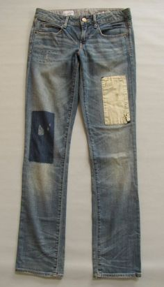 "Gap Jeans Real Straight 27 4  Light Patch Repair 1969 Slim Low Stretch Denim 32"" #GAP #StraightLeg"