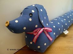 Vintage Style Sausage Dog Draught Draft Excluder - Blue Dotty - Dachshund