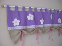 Flowerpurple linentab top window by TalesSweetTale on Etsy, $54.00