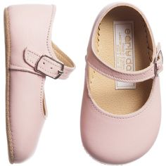 Early Days Pink Leather Mary Jane Shoes (€39) ❤ liked on Polyvore featuring baby