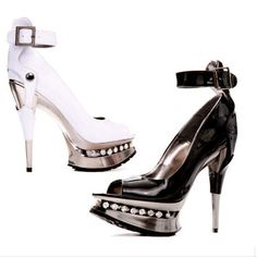 Sarah is an edgy high heel with ankle strap, peep toe, partial covered metallic heel, and platform trimmed with rhinestones. 5 Inch Heels, Platform, Pumps, Sandals, Collection, Shoes, Fashion, Moda, Shoes Sandals