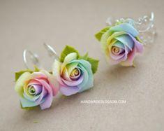 Rainbow roses earrings Polymer clay rainbow rose Handmade