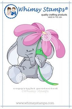 "Whimsy Stamps/Lee Holland ""Elephant with Flower"" Rubber Stamp"