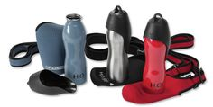 K9 Travel Dog Water Bottle -- The perfect everyday travel accessory for your active dog! This convenient water bottle has a lid designed to double as a water bowl just for dogs.
