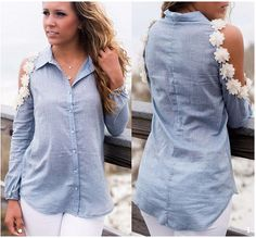 this is an interesting top. Great chambray top. long sleeve denim open shoulder