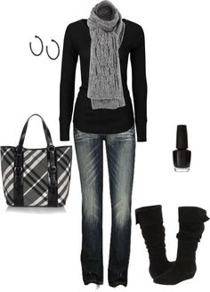 So simple, but the scarf and boots really makes this outfit great. Nice purse too, but a pop of color would work too.
