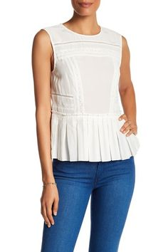 Pleated Trim Silk Tank by Nicole Miller on @nordstrom_rack