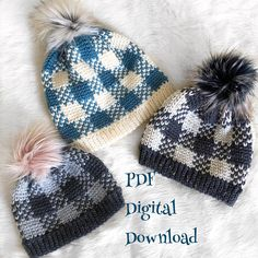 The Flannel Forrest Beanie PDF DIGITAL DOWNLOAD Crochet Pattern, Plaid crochet hat pattern, gingham crochet beanie, Womens plaid beanie pdf ***This listing is for a PDF pattern ONLY. This is NOT A FINISHED PRODUCT.*** This pattern includes 3 sizes- Adult(womens), Child, Toddler. This
