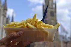 Famous Belgian fries in Bruges, Belgium Belgium Food, Belgian Cuisine, Bruges, French Fries, Dishes, Suitcase, Europe, Foods, Kpop