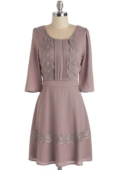 Whimsically Prim Dress - Solid, Casual, A-line, 3/4 Sleeve, Fall, Winter, Woven, Mid-length, Pink, Scoop