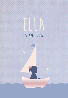 Geboortekaartje Ella - Pimpelpluis - https://www.facebook.com/pages/Pimpelpluis/188675421305550?ref=hl (# meisje - boot - bootje - zeilboot - zee - water - vogels - vrolijk  - retro - vintage - silhouet - lief - origineel)