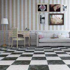 Black Gloss Marble Effect Floor Tiles