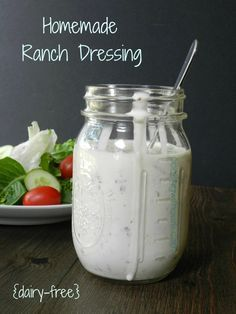Homemade Ranch Dressing {dairy-free}   cookingwithcurls.com   #dressingrecipe #dairyfree #homemaderanchdressing
