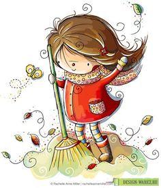 Fall Fun with Rachelle Ann Miller. Her art is my dream art style. It's warm, simple and cute. Illustration Mignonne, Illustration Girl, Cute Clipart, Naive Art, Cute Art, Bunt, Illustrators, Art Drawings, Cartoon