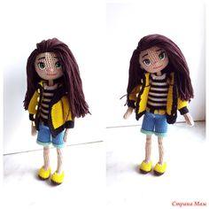 Вот и свершилось!!! Моя первая каркасная куколка готова.  Знакомьтесь: девочку зовут Эрика.  -рост малышки 19 см -внутри проволочный каркас -связана девочка из хлопковых ниточек