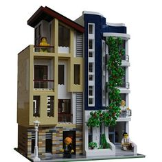 LEGO Modern District - building instructions and parts list. Lego Modular, Lego Design, Lego Moc, Legos, Pokemon Lego, Design Package, Box Container, Cool Lego Creations, Lego House