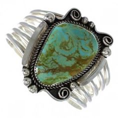 Turquoise Authentic Sterling Silver Navajo Cuff Bracelet AX98613