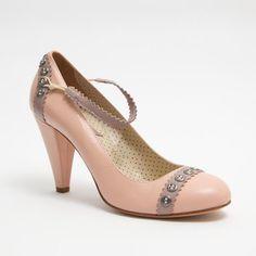 1990's Pink Pumps - Vintage 1970's Pink Leather Rose Mauve High Rhinestone Heel Purple Trim Polka Dot Shoes