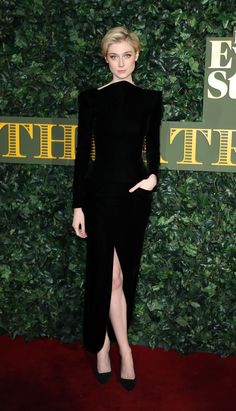 Elizabeth Debicki on the red carpet in a Giorgio Armani Privé floor-length black velvet gown at the 2016 London Evening Standard Theatre Awards earlier this week. #ArmaniStars