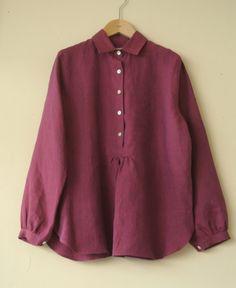 LINNET Linen blouse リネンブラウス,シャツカラーのブラウス