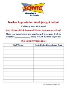 Printable Sonic Order form for Teacher Appreciation Week. Date can be written in the blank.